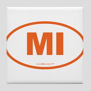 Michigan MI Euro Oval Tile Coaster