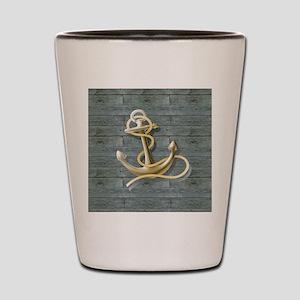 ocean blue wood anchor Shot Glass