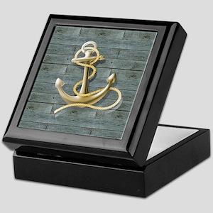 ocean blue wood anchor Keepsake Box