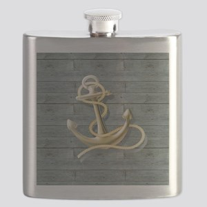 ocean blue wood anchor Flask