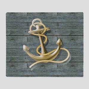 ocean blue wood anchor Throw Blanket