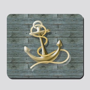 ocean blue wood anchor Mousepad