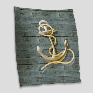 ocean blue wood anchor Burlap Throw Pillow