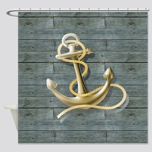 ocean blue wood anchor Shower Curtain