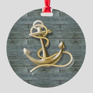 ocean blue wood anchor Round Ornament