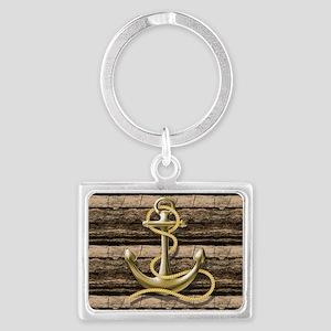 shabby chic vintage anchor Landscape Keychain