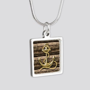 shabby chic vintage anchor Silver Square Necklace