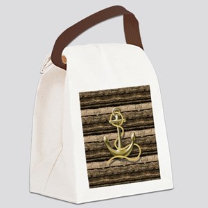 shabby chic vintage anchor Canvas Lunch Bag
