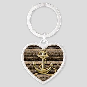 shabby chic vintage anchor Heart Keychain