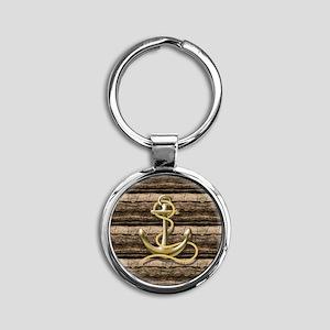 shabby chic vintage anchor Round Keychain