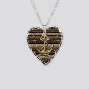 shabby chic vintage anchor Necklace Heart Charm