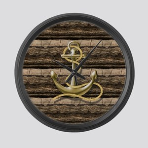 shabby chic vintage anchor Large Wall Clock