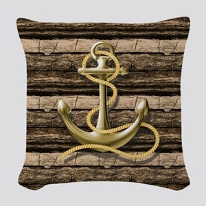 shabby chic vintage anchor Woven Throw Pillow