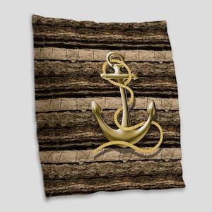 shabby chic vintage anchor Burlap Throw Pillow