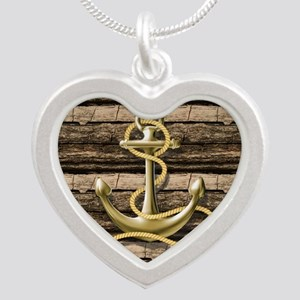 shabby chic vintage anchor Silver Heart Necklace