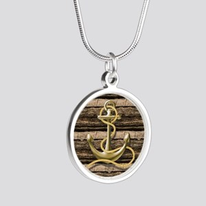 shabby chic vintage anchor Silver Round Necklace