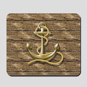 nautical beach wood anchor Mousepad