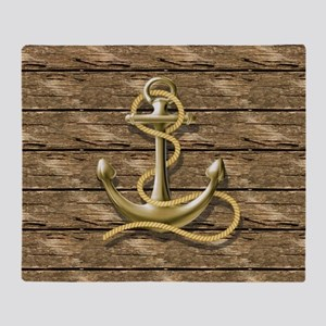 nautical beach wood anchor Throw Blanket