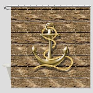 nautical beach wood anchor Shower Curtain