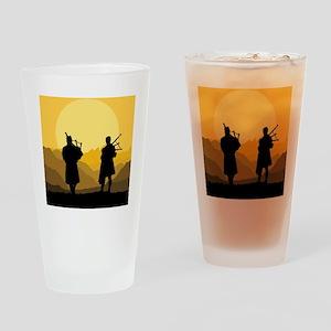 Scottish bagpipe sunset Drinking Glass