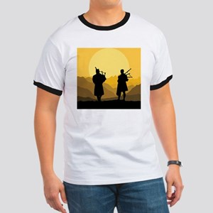 Scottish bagpipe sunset Ringer T