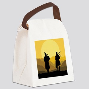 Scottish bagpipe sunset Canvas Lunch Bag