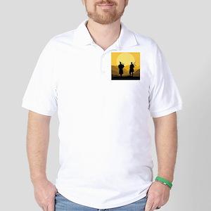 Scottish bagpipe sunset Golf Shirt