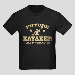 Future Kayaker Like My Grandpa Kids Dark T-Shirt