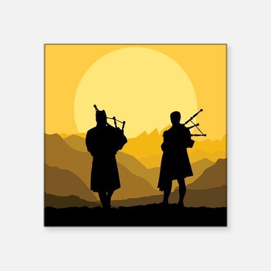 Scottish bagpipe sunset Sticker