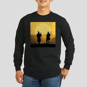 Scottish bagpipe sunset Long Sleeve T-Shirt