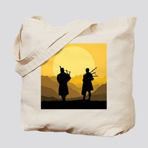 Scottish bagpipe sunset Tote Bag