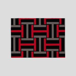 Biker Red T Weave 5'x7'Area Rug