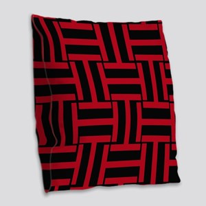 Red And Black T Weave Burlap Throw Pillow