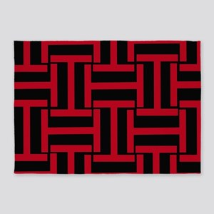 Red and Black T Weave 5'x7'Area Rug