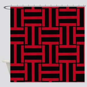 Red and Black T Weave Shower Curtain