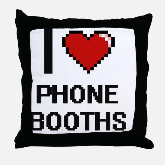 I Love Phone Booths Digital Design Throw Pillow