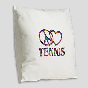 Peace Love Tennis Burlap Throw Pillow