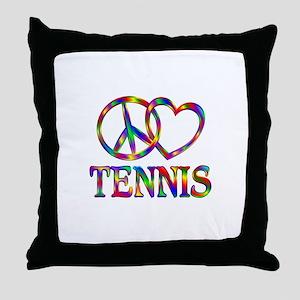 Peace Love Tennis Throw Pillow
