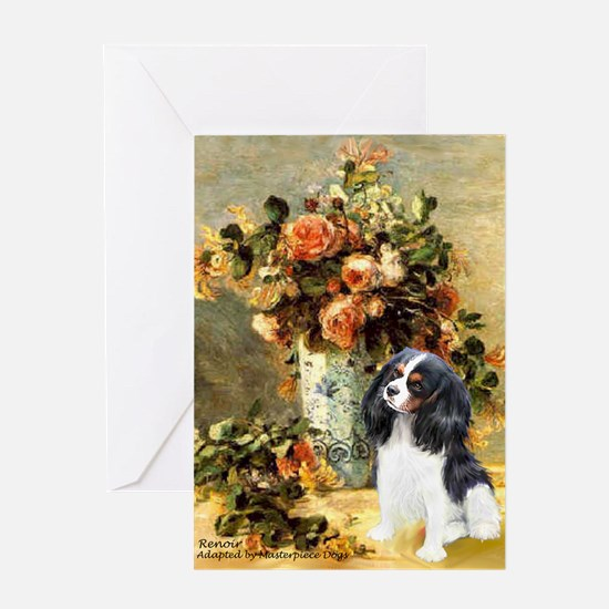 Flowers & Tri Cavalier Greeting Card