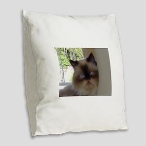 seal point himalayan Burlap Throw Pillow