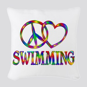 Peace Love Swimming Woven Throw Pillow