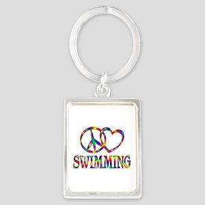 Peace Love Swimming Portrait Keychain