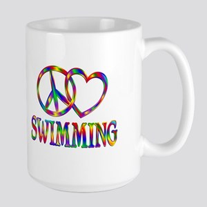 Peace Love Swimming Large Mug