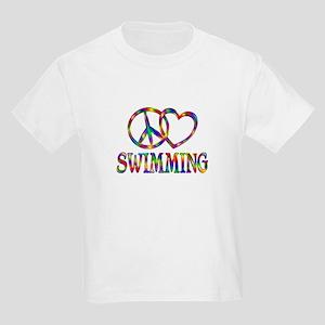 Peace Love Swimming Kids Light T-Shirt