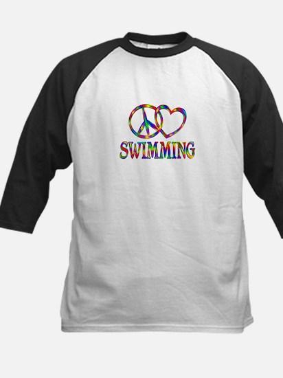 Peace Love Swimming Kids Baseball Jersey