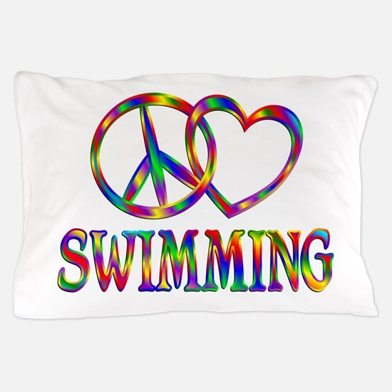 Peace Love Swimming Pillow Case