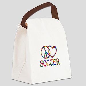 Peace Love Soccer Canvas Lunch Bag