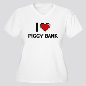 I Love Piggy Bank Digital Design Plus Size T-Shirt