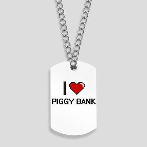 I Love Piggy Bank Digital Design Dog Tags