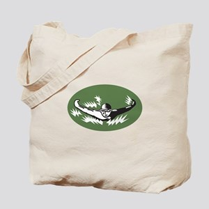 Swimmer Butterfly Stroke Swimming Woodcut Tote Bag